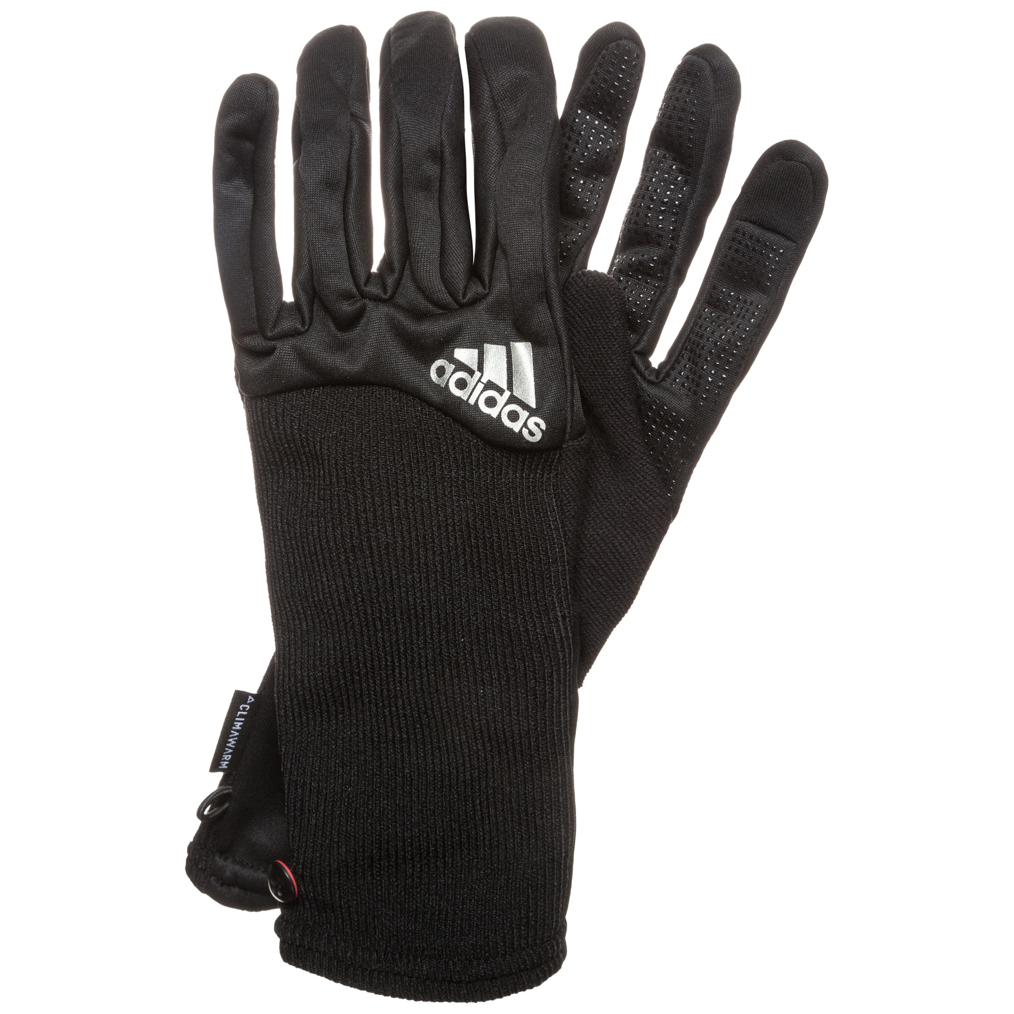 Перчатки для бега Adidas Climawarm - Black / Ray Red / Silver Met