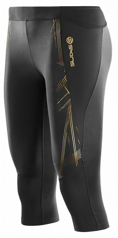 SKINS Тайтсы A400 3/4 Tights W - Black / Gold